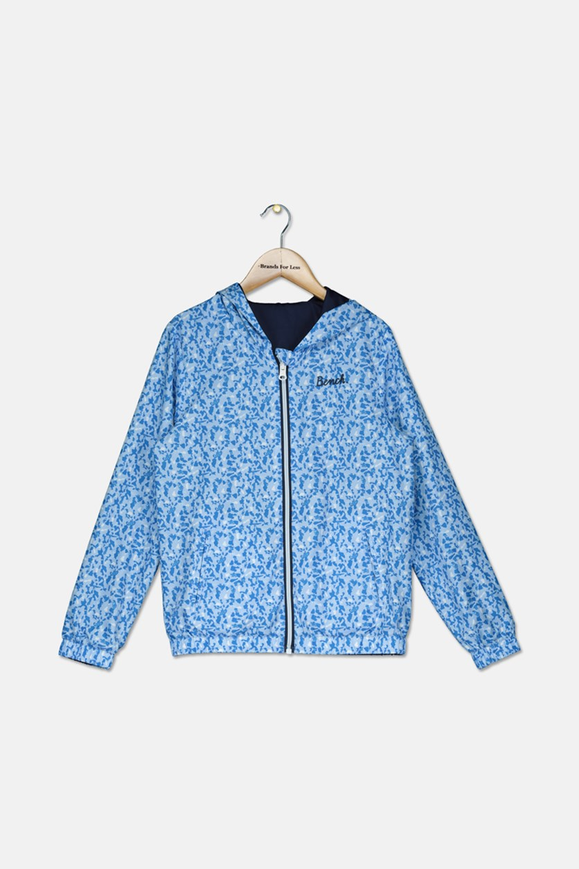 Girl's Reversible  Hoodies, Light Blue/Navy/White