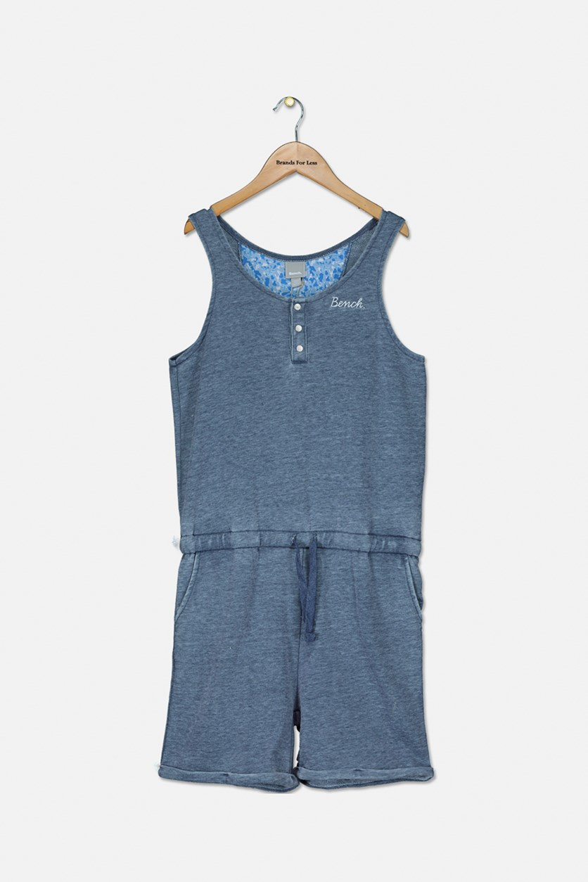 Girl's Drawstring Romper, Heather Navy