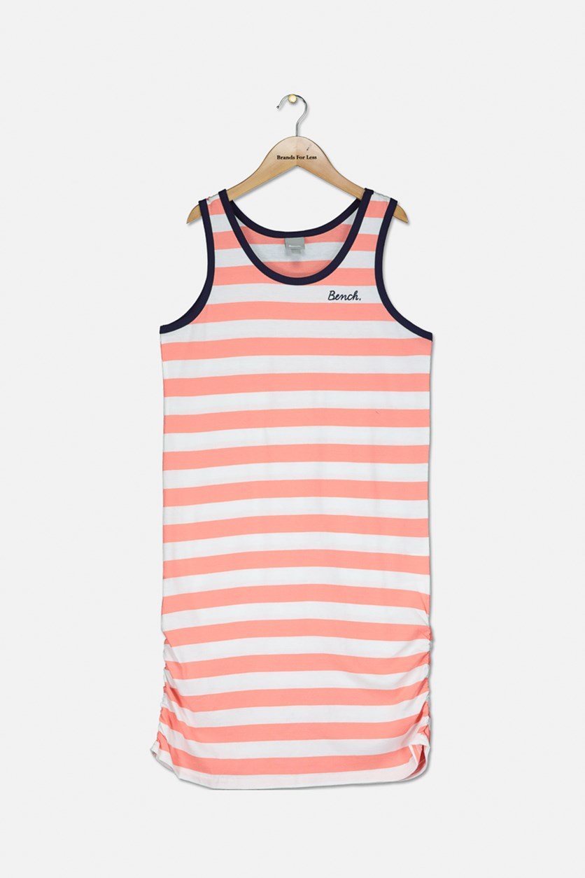 Girls Stripey Pullover Vest Dress, Pink/White