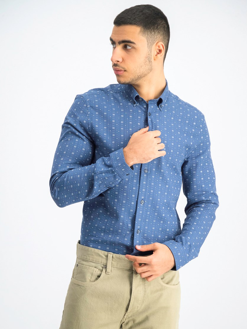 Men's Printed Casual Shirt, Blue Combo