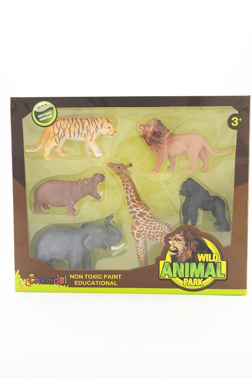 Wild Animals 6 Pieces Set, Brown/Black/Grey/Orange