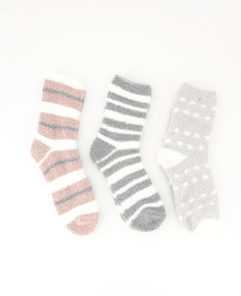 Women's Stripes Cosy Socks, Grey/Mauve/White