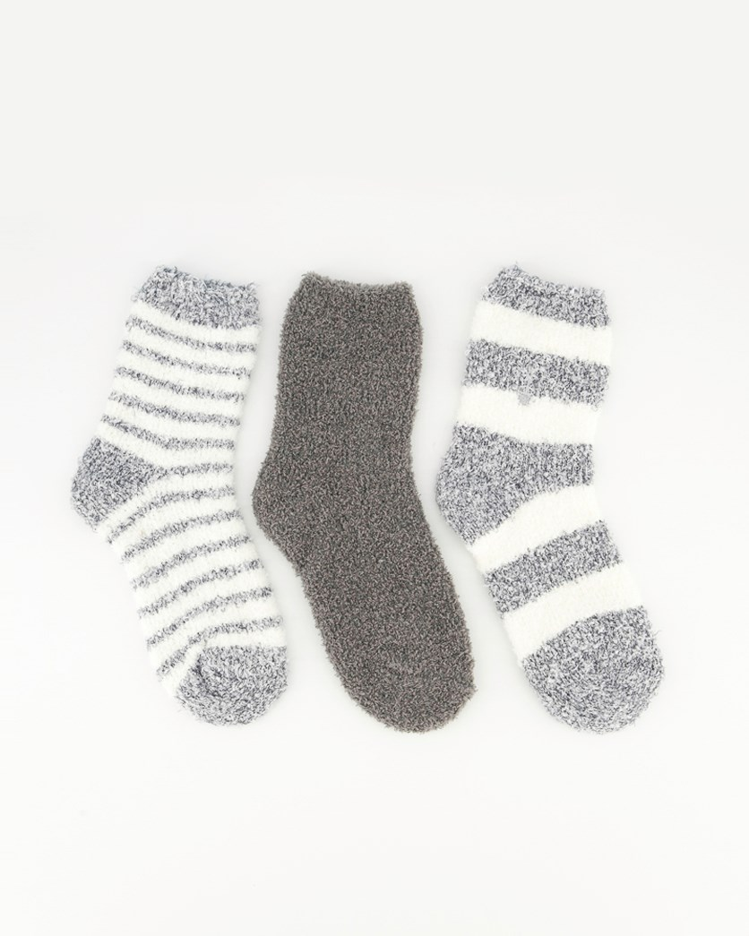 Women's Supersoft Stripes Cosy Sock, White Grey Combo