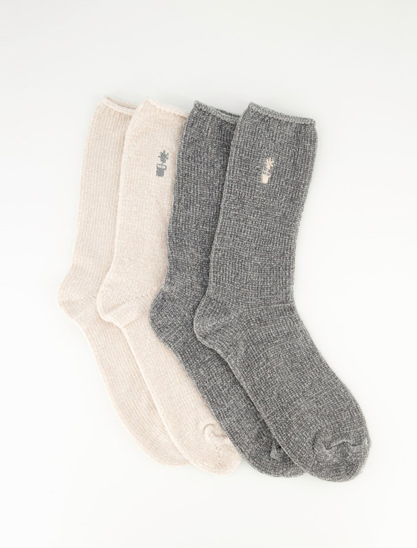 Women's Metallic Cosy Socks, Grey/Light Pink