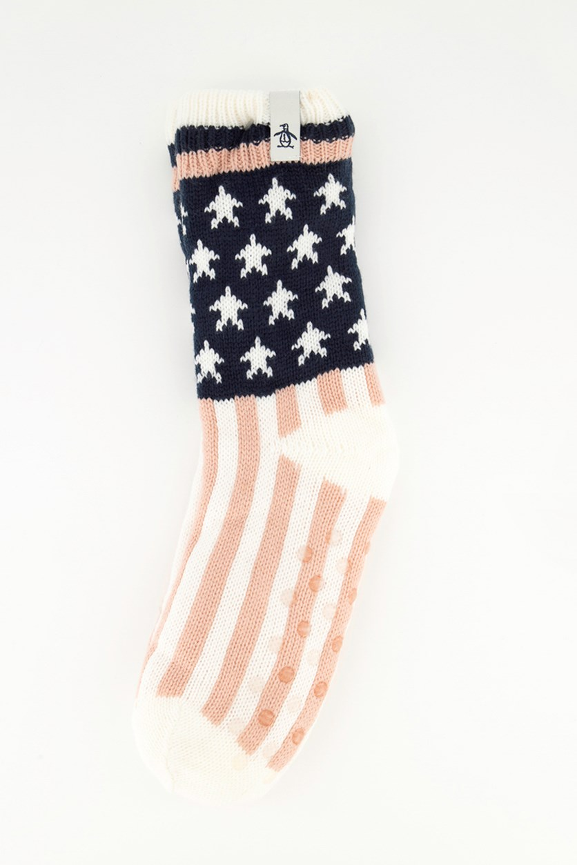 Women's American Flag Socks, Navy/Offwhite