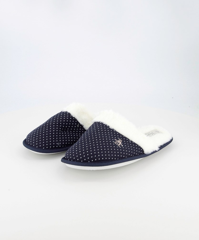 Women's Mini Spot Fur Slipper, Navy/White