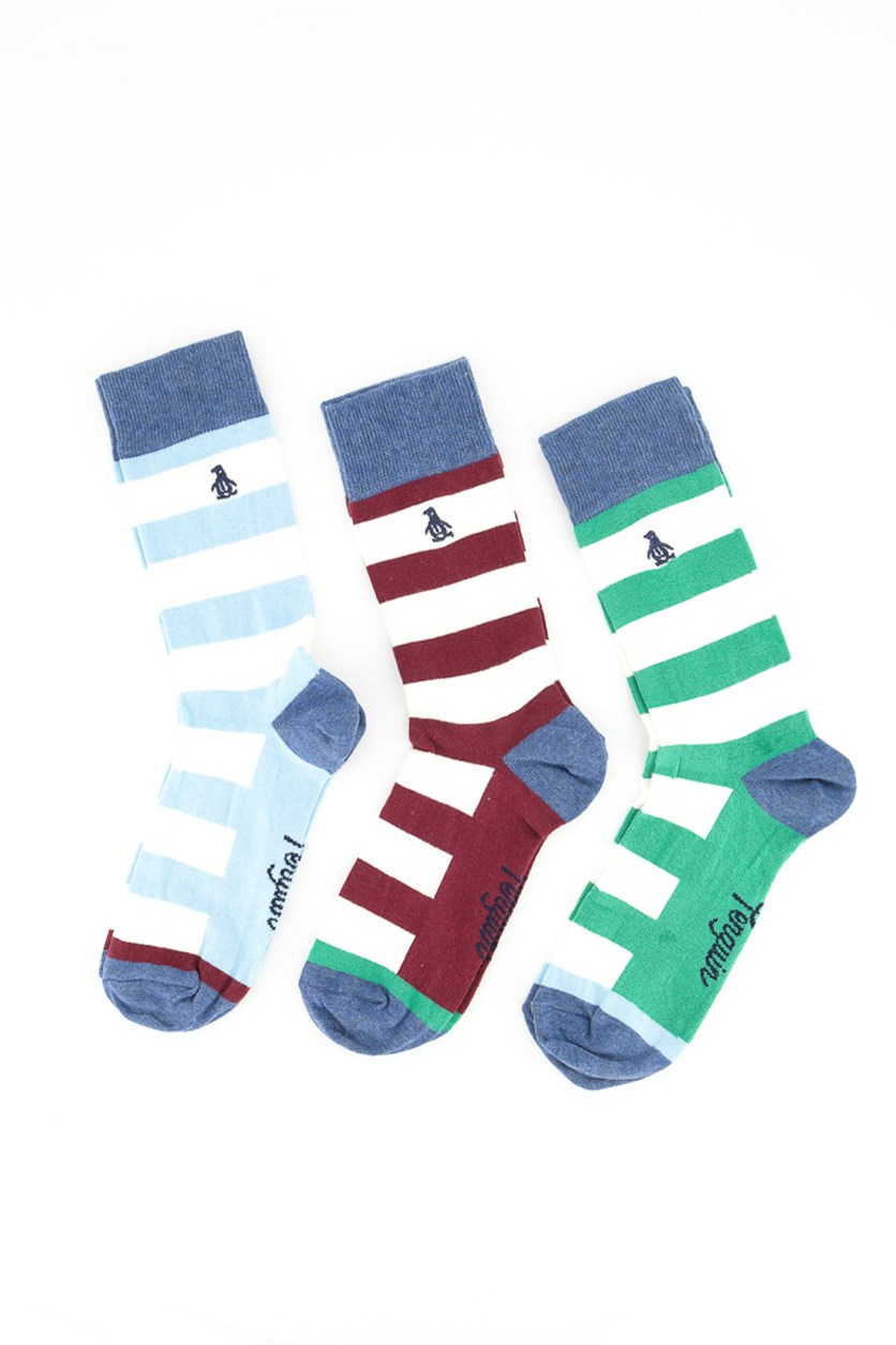 Men's Embroidered logo Stripes Socks, Heather Blue/Grey/White