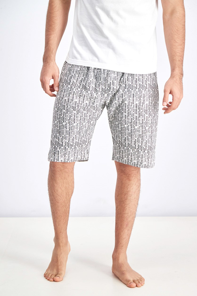 Men's Lounge Jersey Short Vertical Print, Black/White