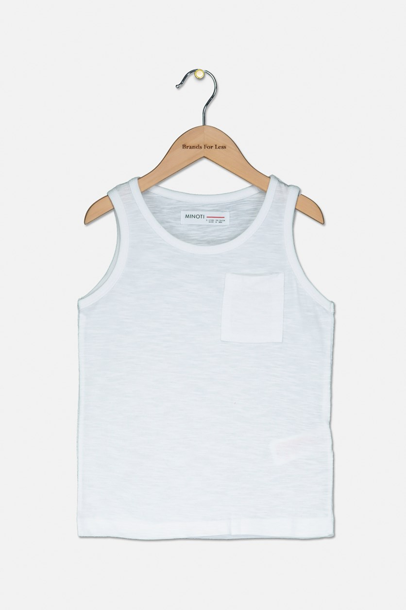 Kids Boys Basic Slub Vest Top, White