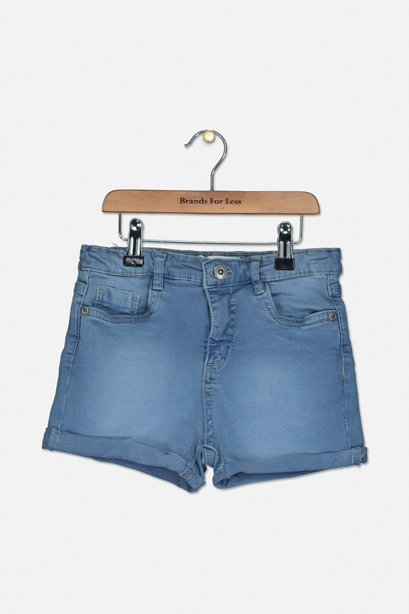 Girl's Five Pocket Short, Denim Blue