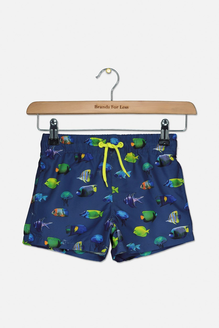 Toddler Boys Fish Board Short, Peacot