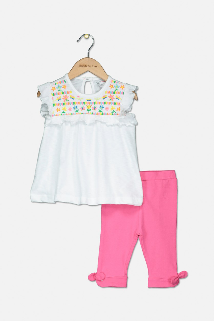 Toddler Girls 2-Pc Top & Legging Set, White/Pink
