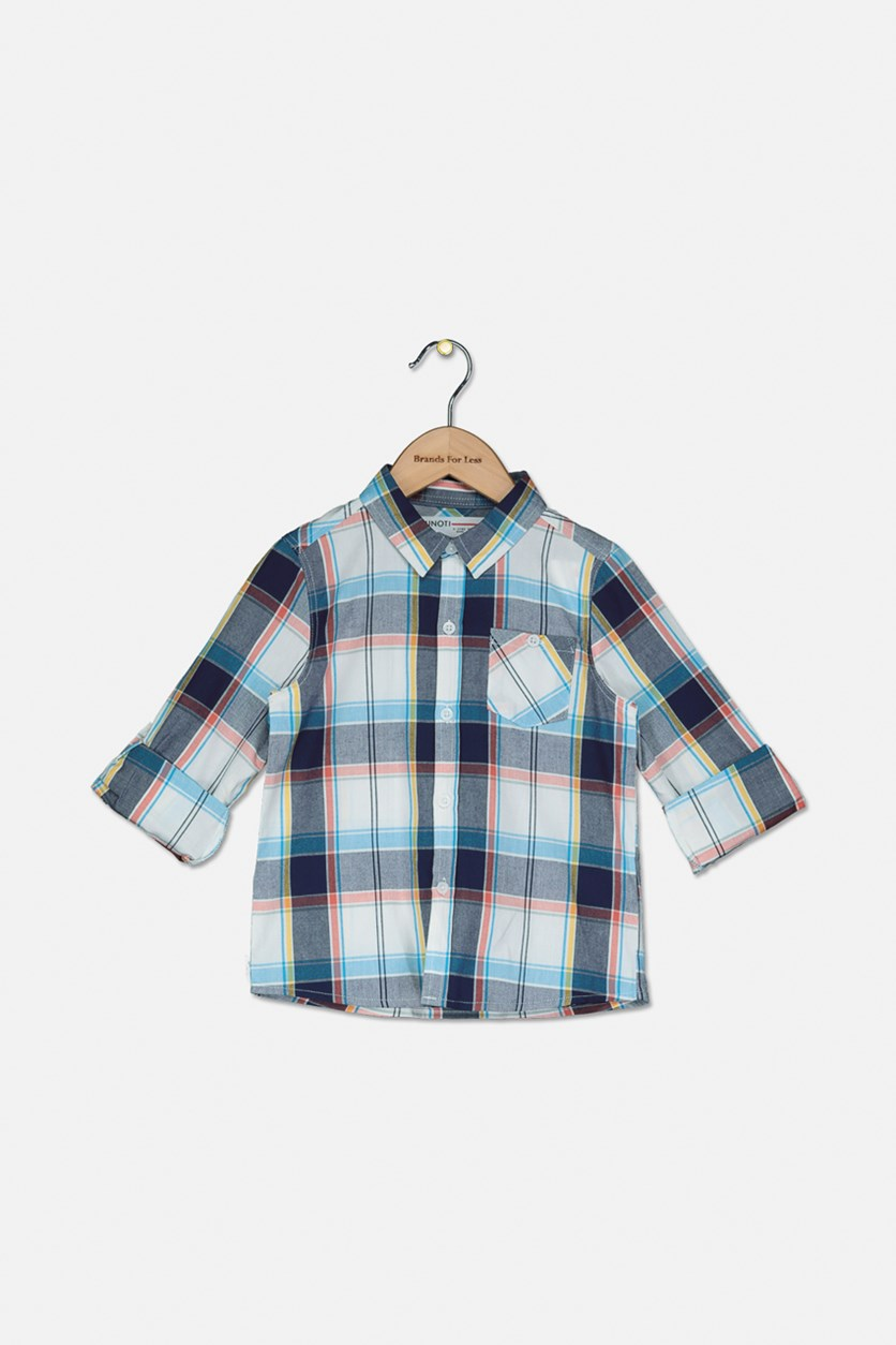 Little Boy's Checkered Casual Shirt, White/Grey/Blue