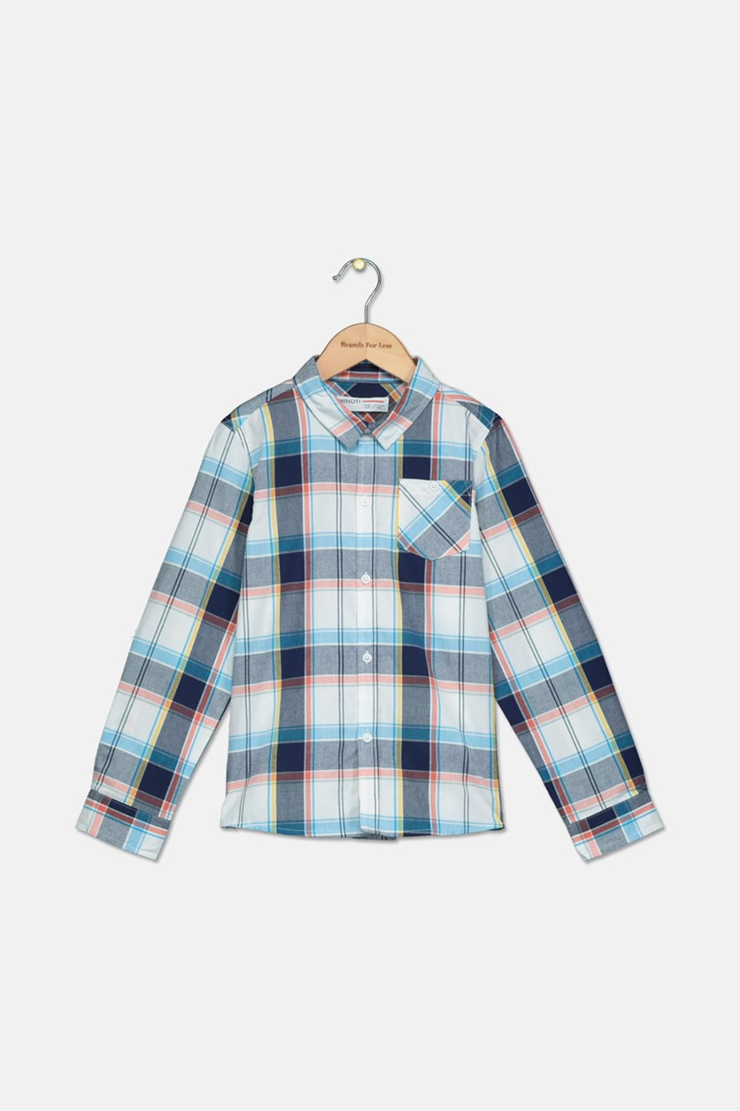 Boy's Checkered Casual Shirt, White/Grey/Blue