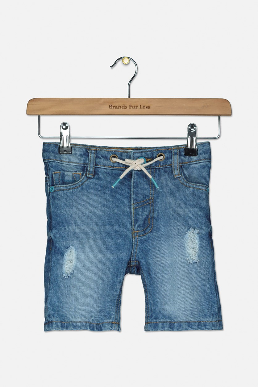 Toddler Girl's Ripped Short, Denim Blue