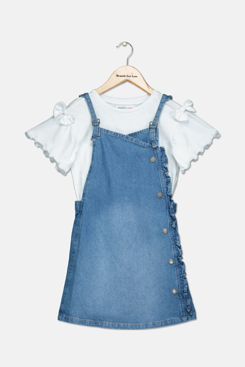 Toddlers Girl's 2piece Top Dress, White/Blue