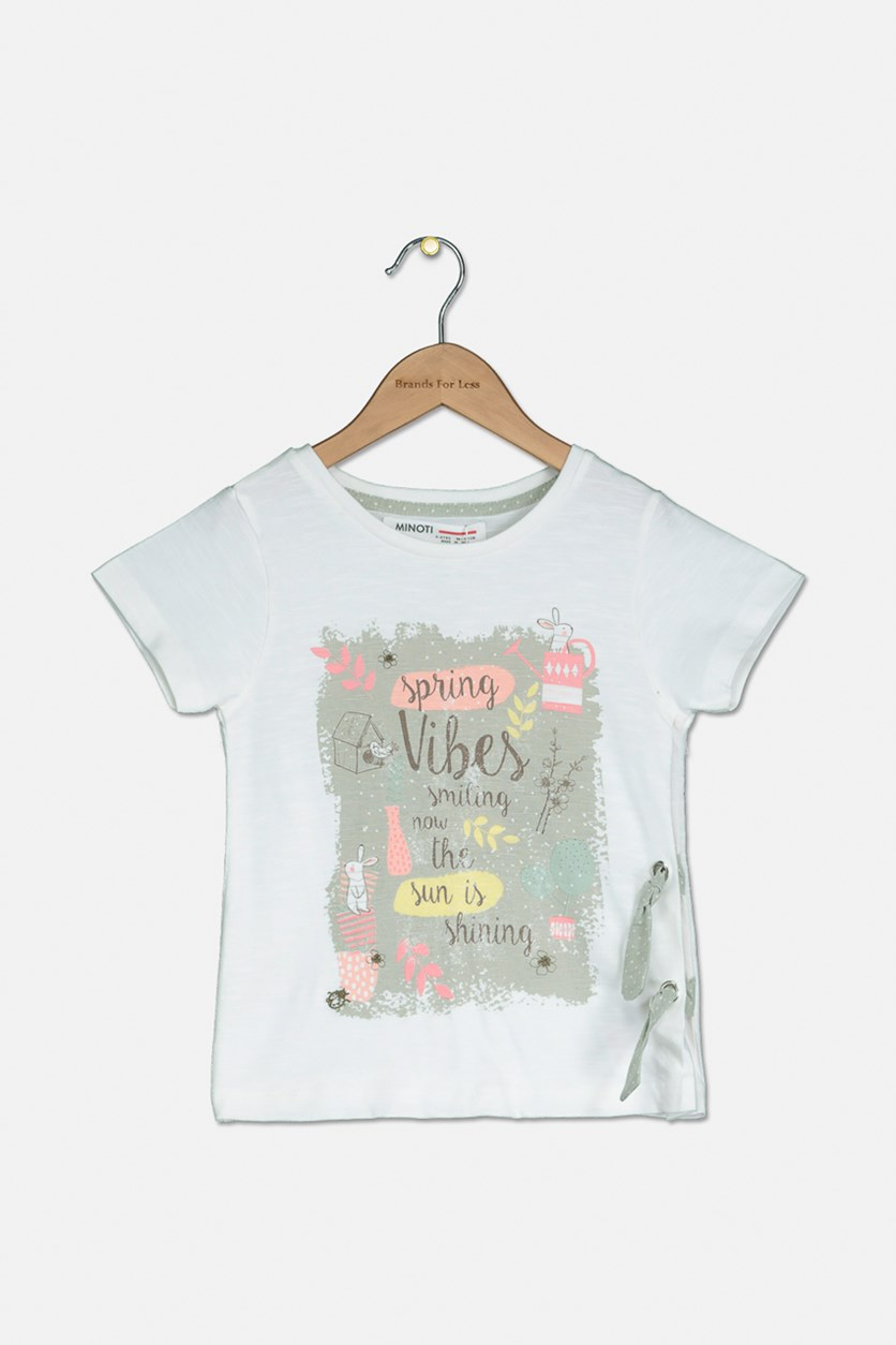 Toddler Girl's Graphic Print Tee, White Combo