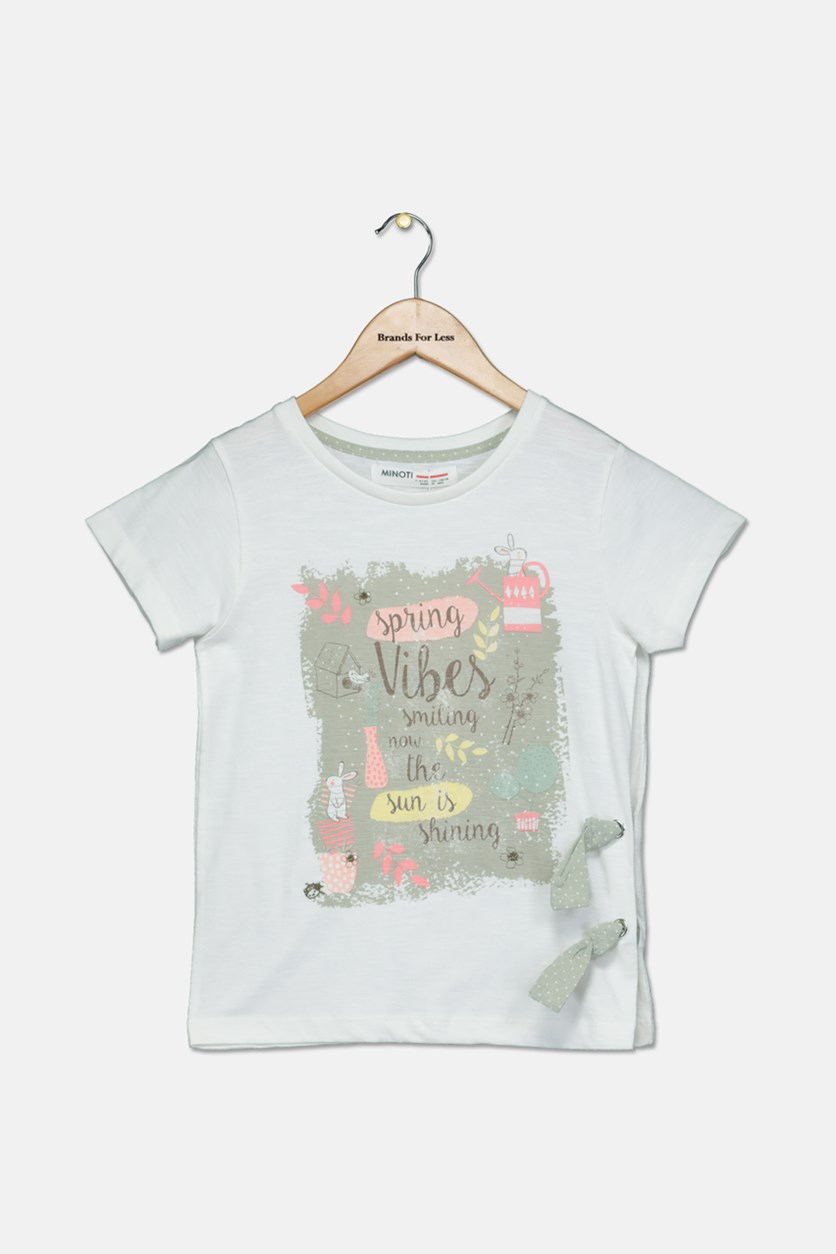 Girl's Graphic Print Tee, White Combo