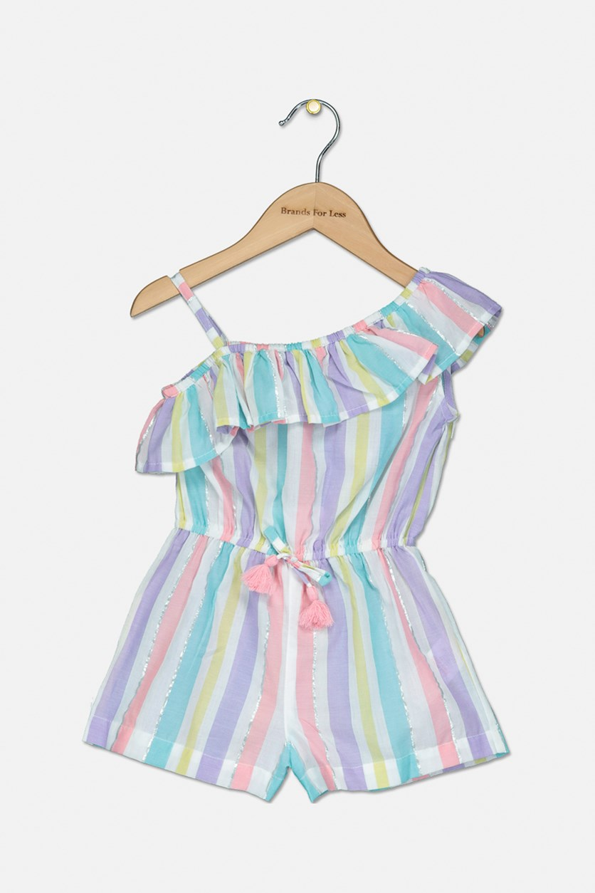 Toddler Girls Striped Woven Playsuit, White/Blue/Yellow/Purple