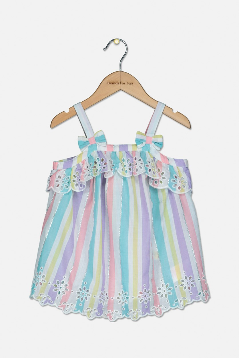 Toddler Girls Striped Top, Pink/Purple/Turquoise