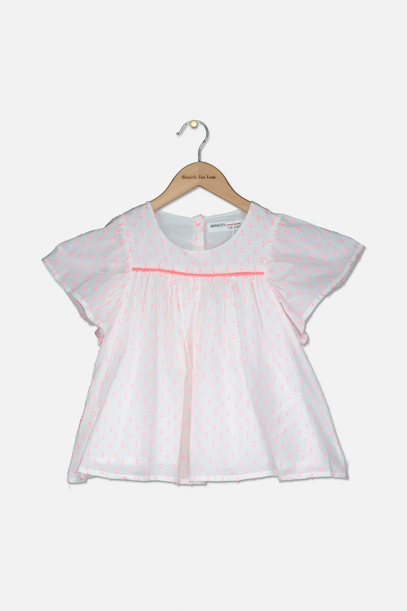 Kids Girls Short Sleeve Hot Top, White/Pink