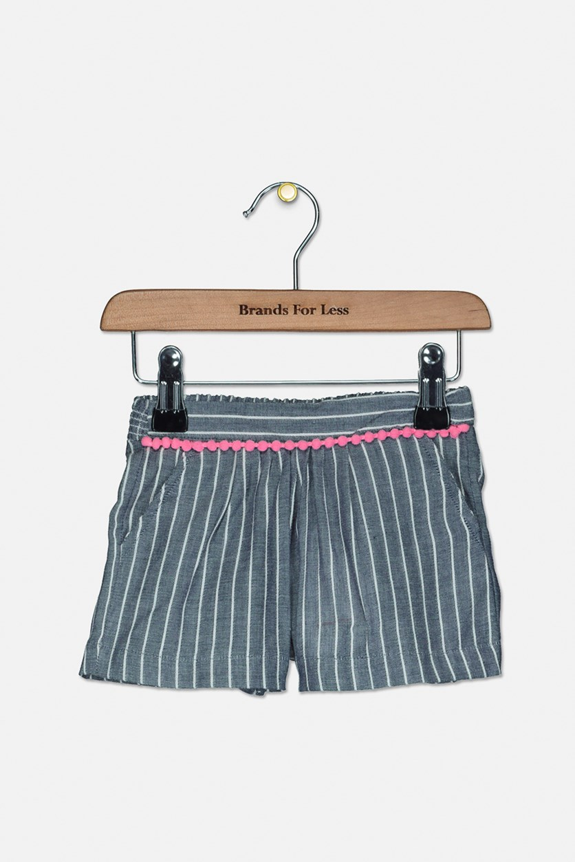 Toddler Girl's Striped Short, Grey/White/Pink