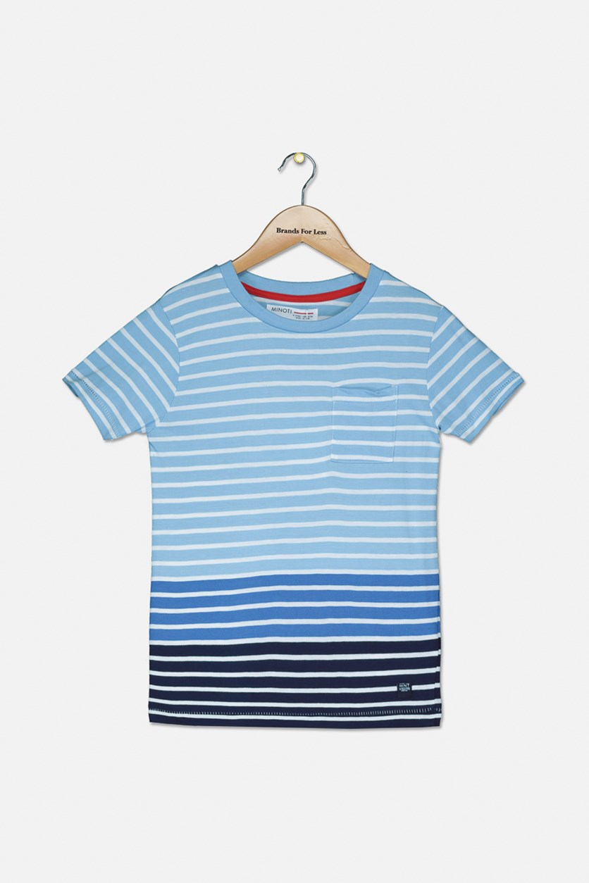 Boy's Striped Short Sleeve Tee, Blue/White