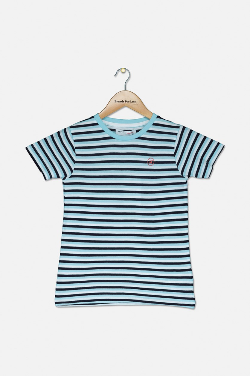 Boy's Short Sleeve Stripe Tee, Blue/Black