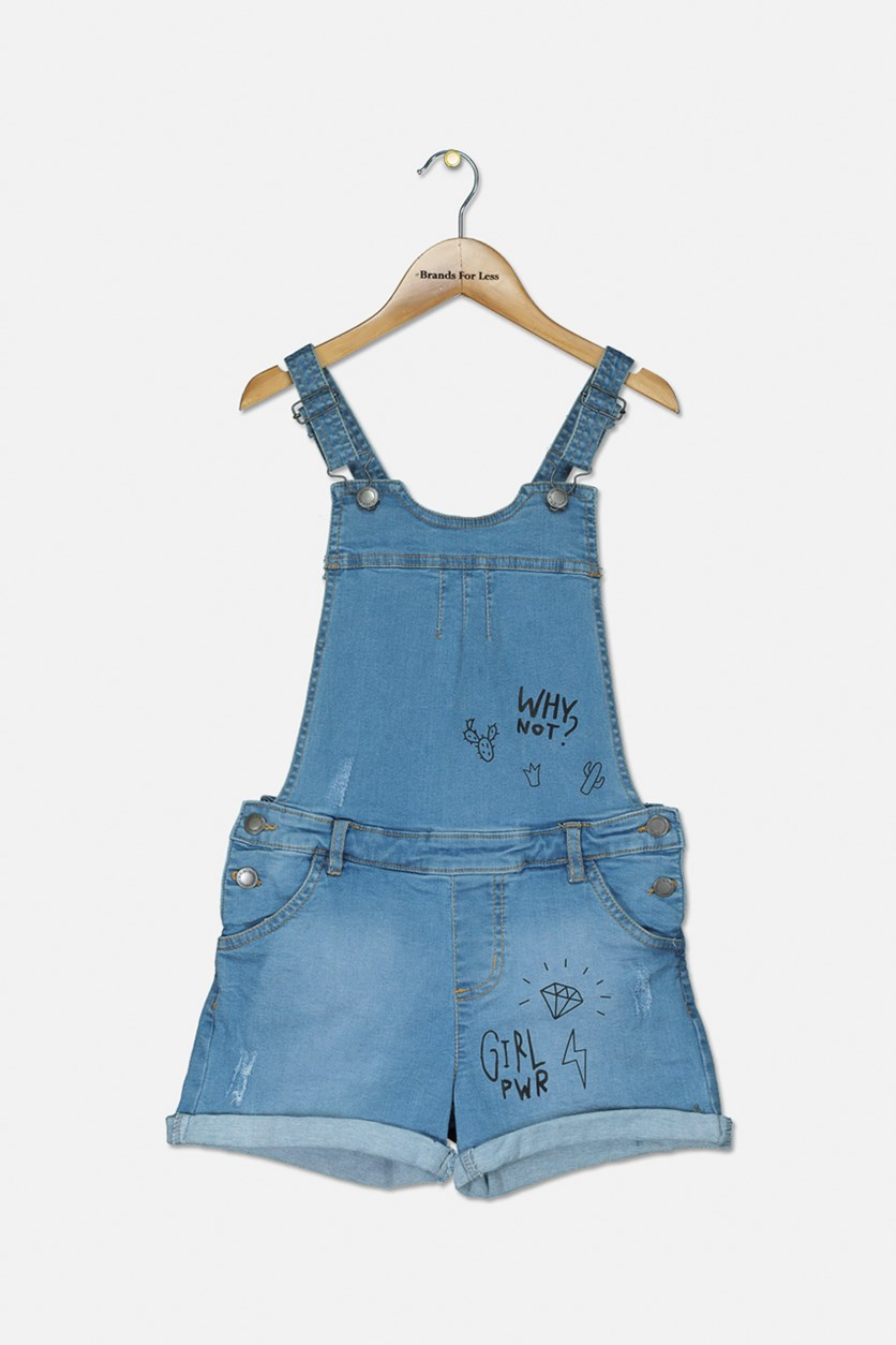 Girl's Crisscross Rompers, Denim Blue