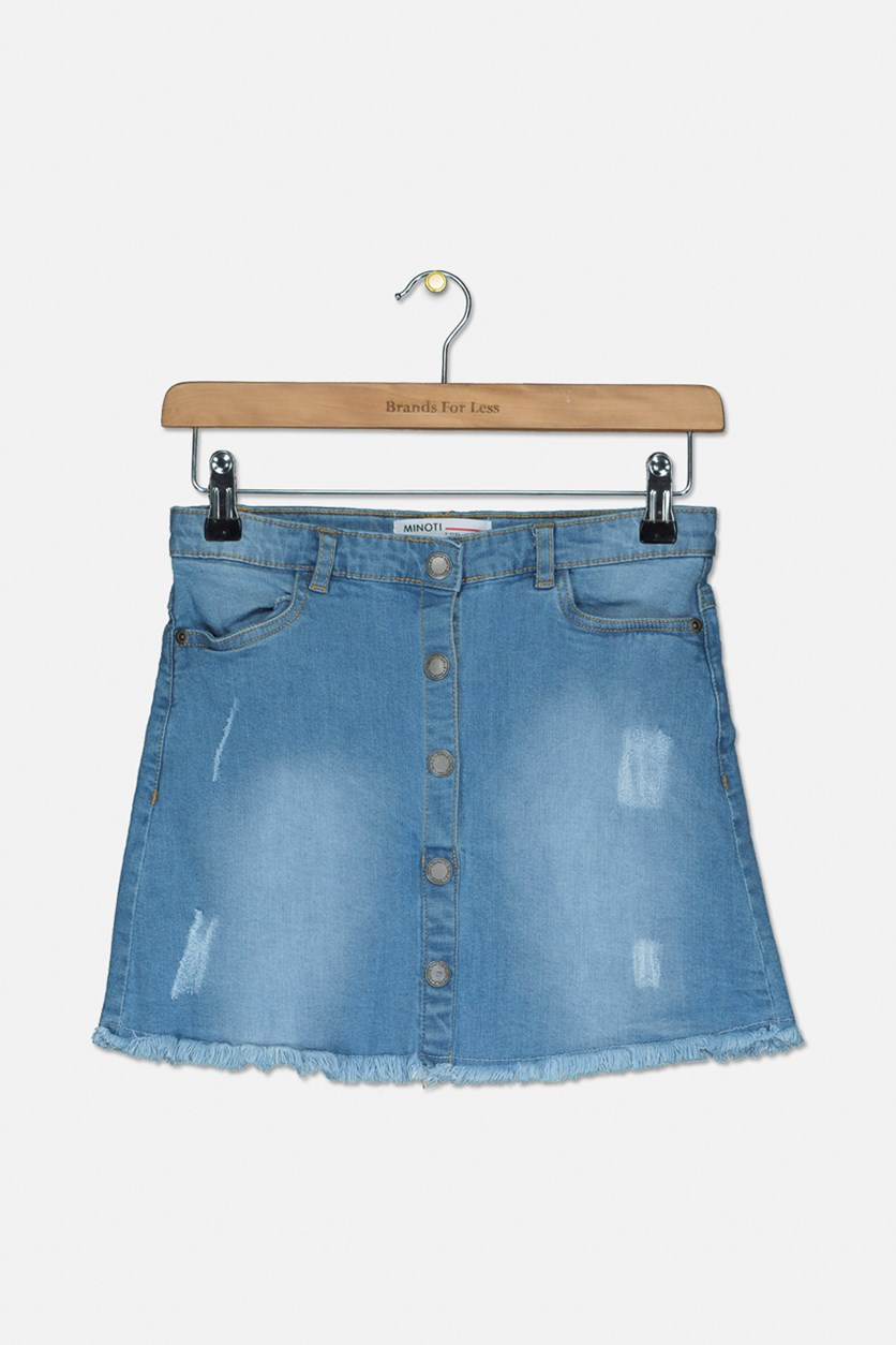 Girl's Faded Skirt, Denim Blue