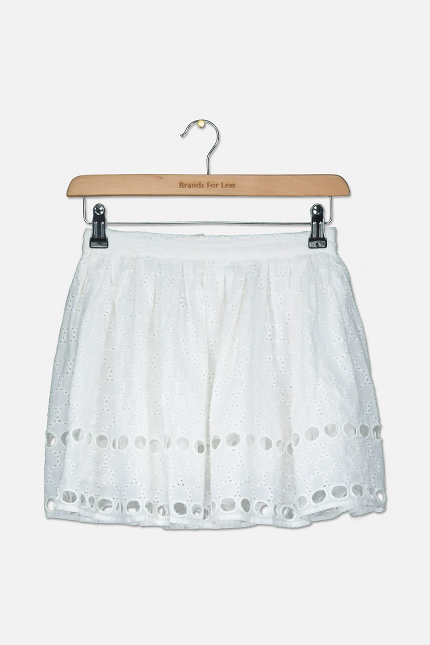 Kids Girls Embroidered Skirt, White