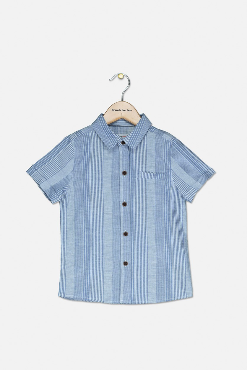 Toddler Boy's Short Sleeve Casual Shirt, Blue/White