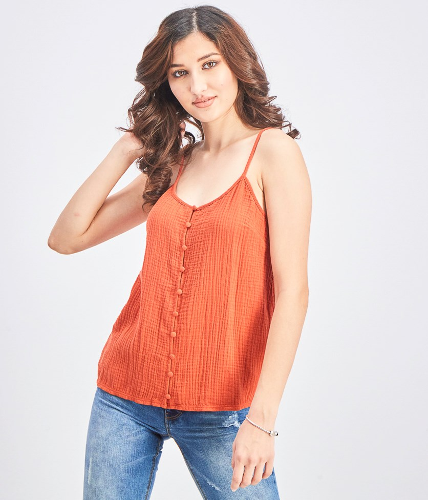 Women's Sleeveless Tank Top, Rust