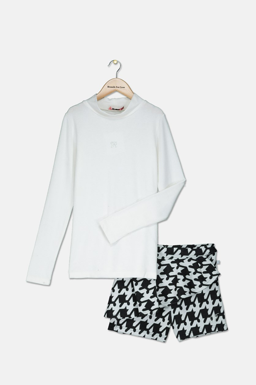 Girls Blouse & Short Set, White/Black
