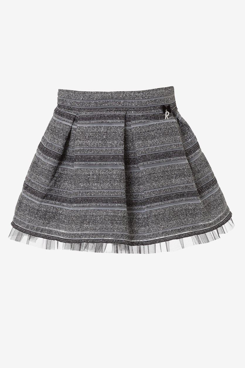 Girls Heather Pleated Skirt, Black