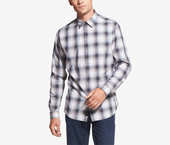 Men's Plaid Shirt, Grey