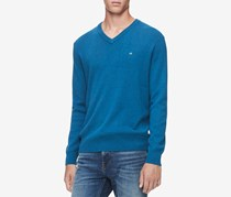 Men's Ribbed V-Neck Pullover Sweater, Atmosphere Heather