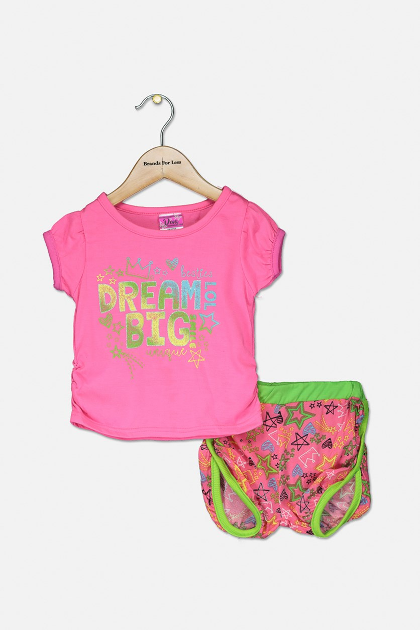 Toddlers Woven Top & Short Set, Pink/Lime Green