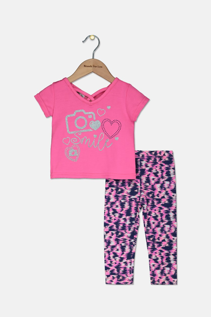 Baby Girls Fashion Tops With Leggings Set, Pink