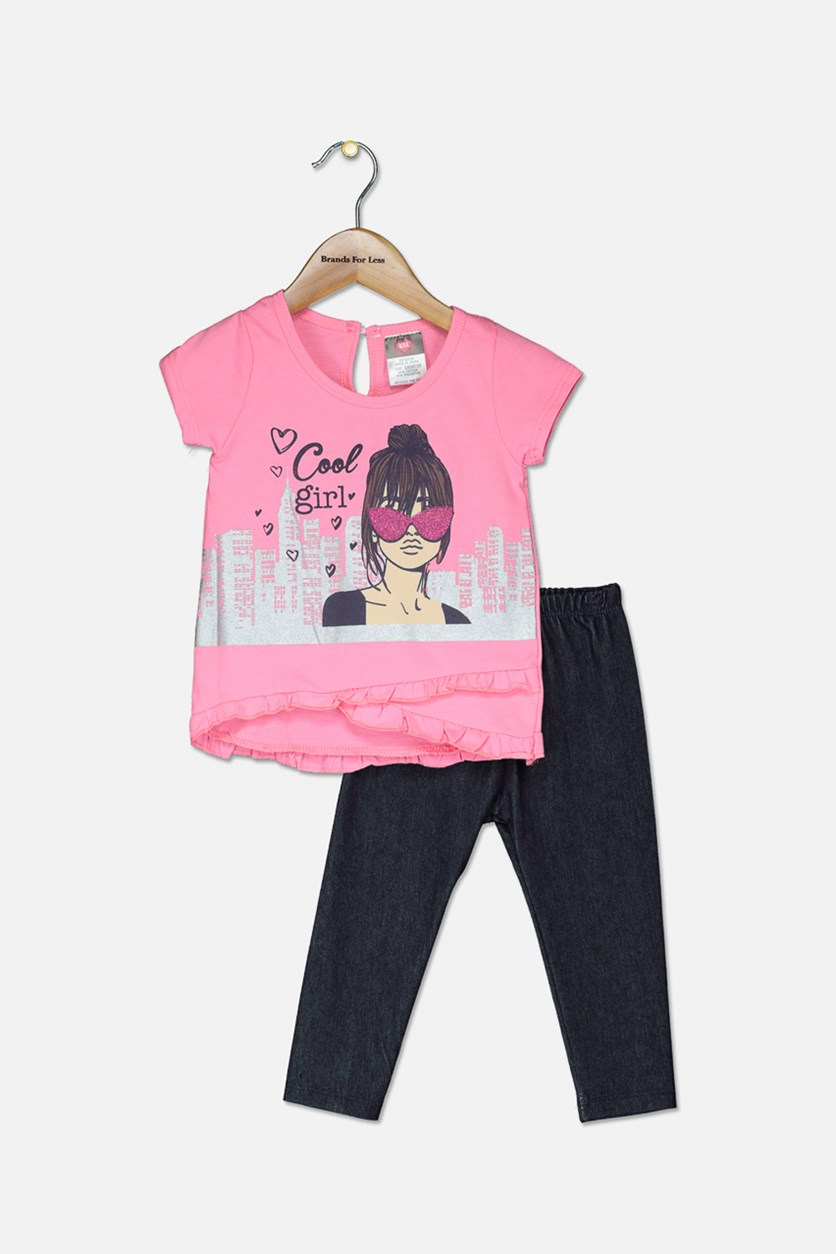 Baby Girls Fashion Top & Jeggings Set, Pink