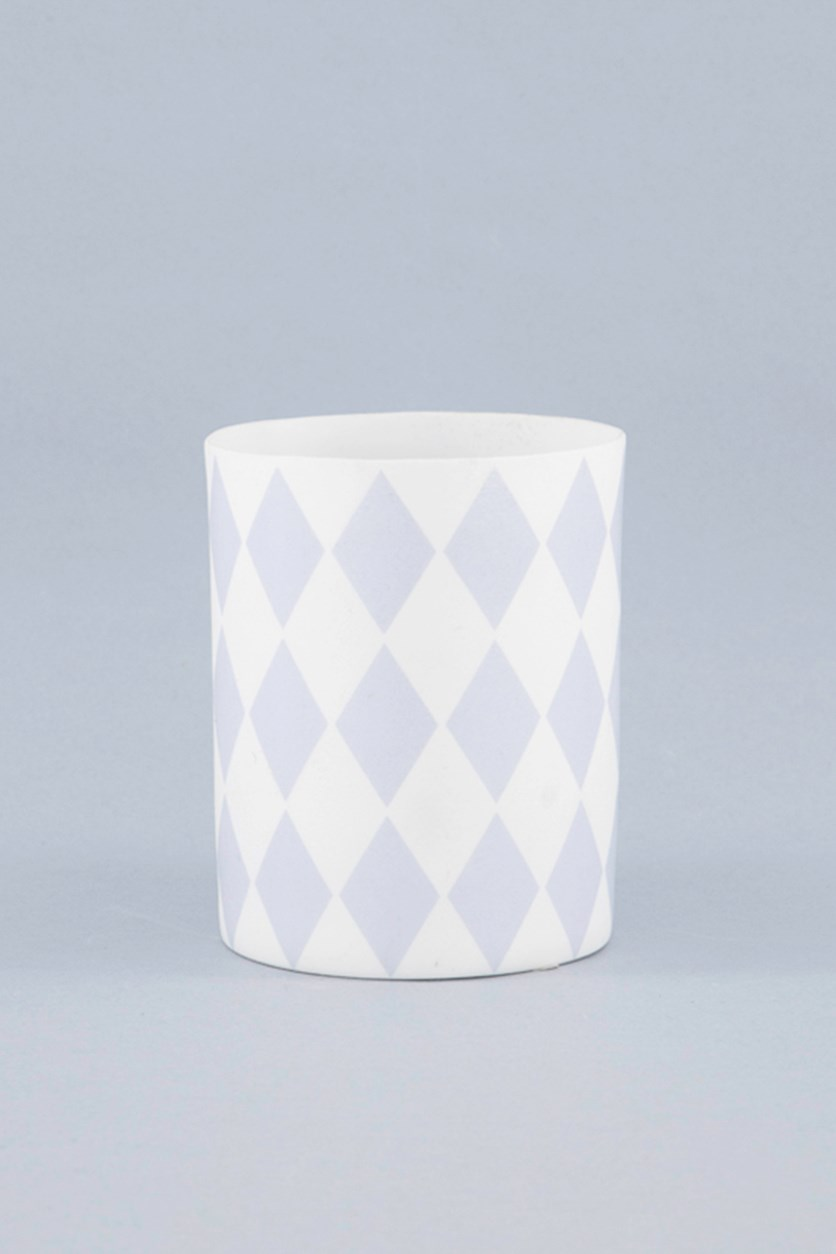 Triangle Print Tealight Holder, Blue/White