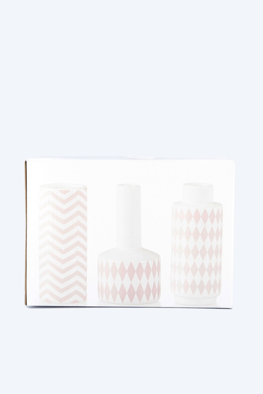 Vase With Pattern 3 Pieces Set, White/Pink