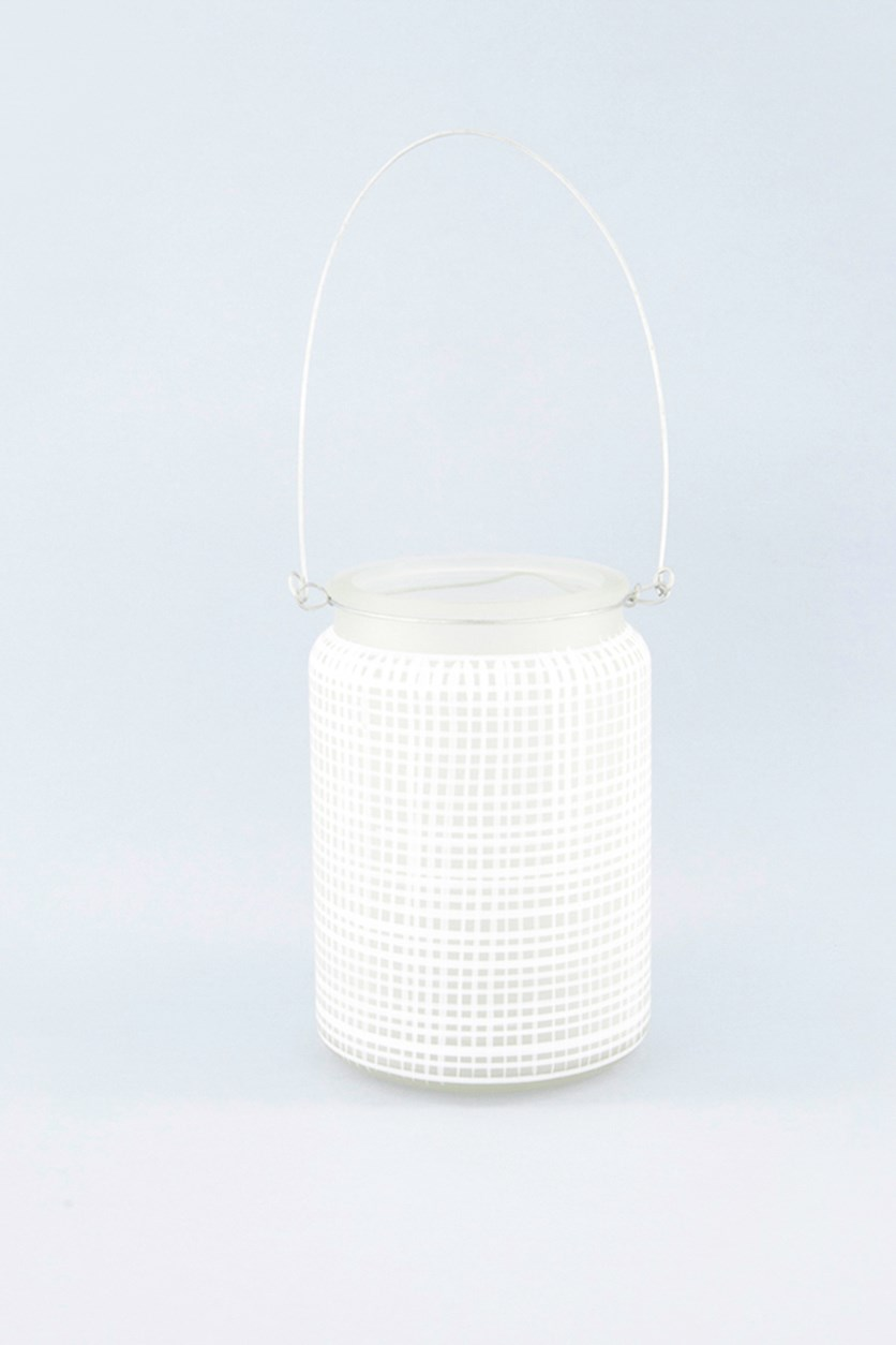 Glass Tealight Holder With Handle, White/Transparent