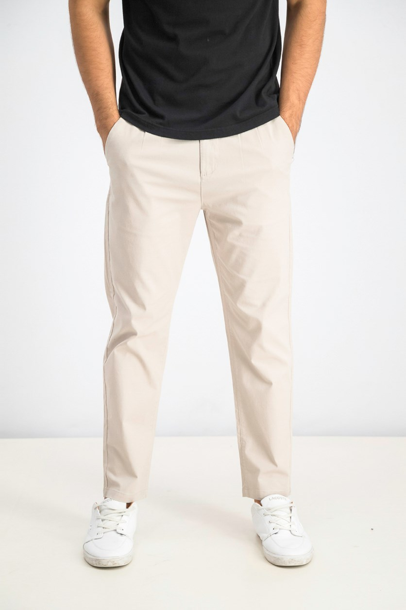 Men's Button & Drawstring Pants, Dove