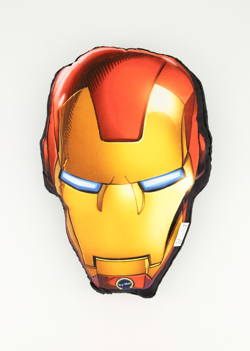 Iron Man  Head  Plush With Led, Black/Red
