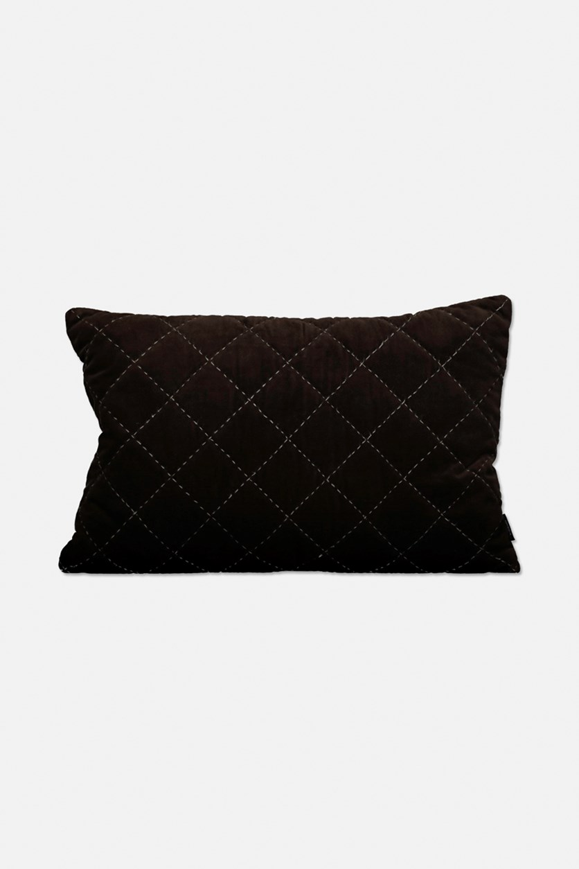Velvet Maja Windowpane Cushion, Chocolate