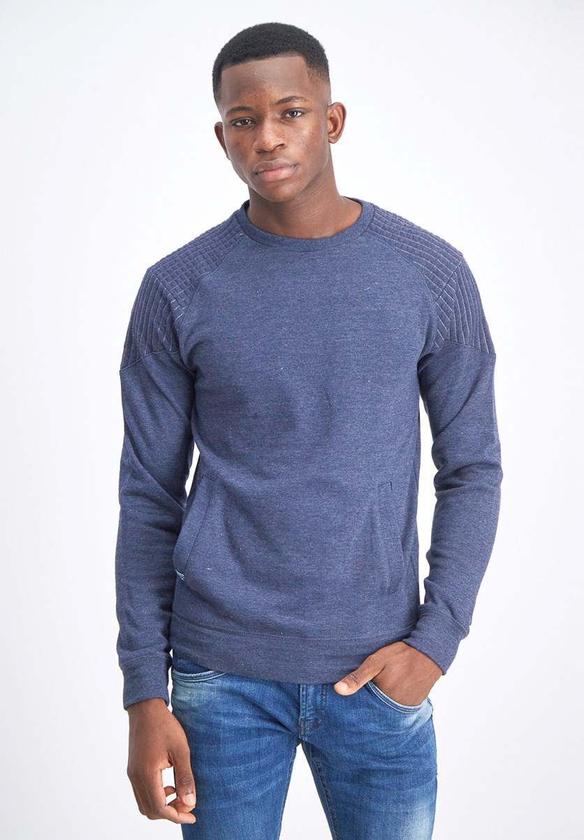 Men's Long Sleeve Pullovers Sweaters, Heather Navy