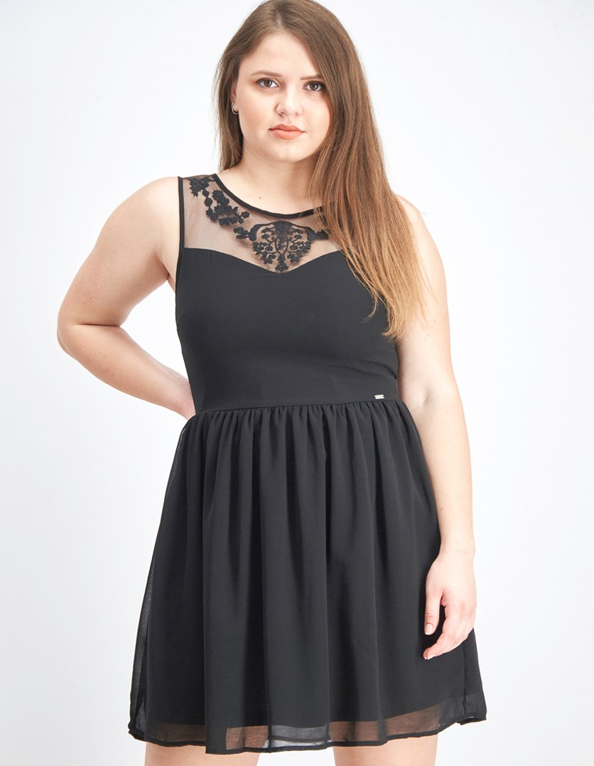 Women's Embroidered Dress, Black