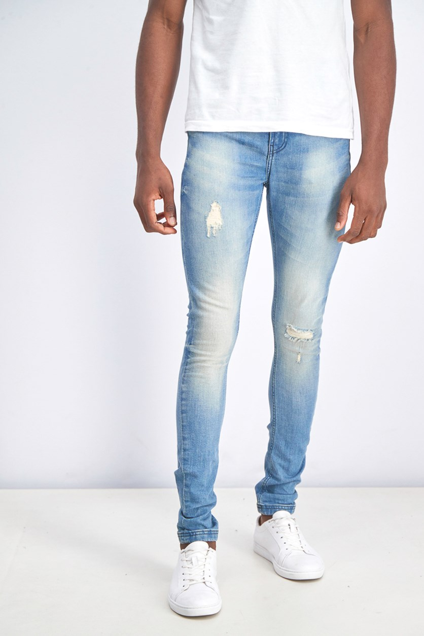 Men's Skinny Ripped Jeans, Wash Blue/Sand