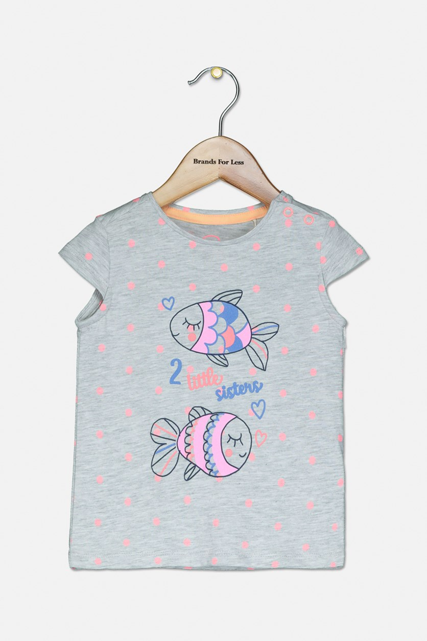 Toddler Graphic Top, Grey Combo